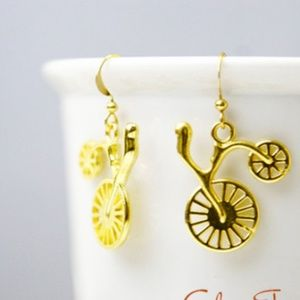 Bicycle Bike Earrings, Gold Plated, Handmade 🌸